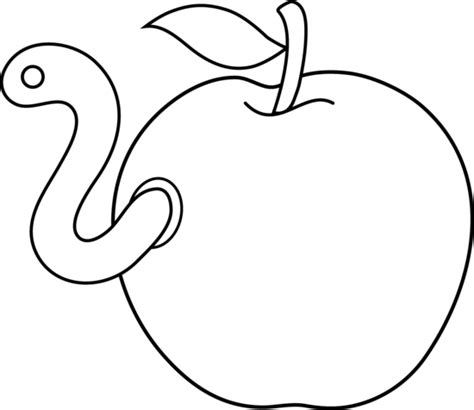 apple with worm coloring page apple outline clip art cliparts co