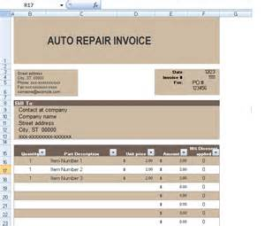 Car Repair Template by Auto Repair Invoice Template In Excel Format Exceltemple
