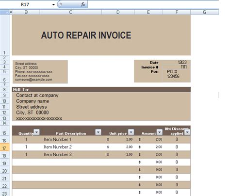 excel invoice template with automatic invoice numbering auto repair template excel hardhost info