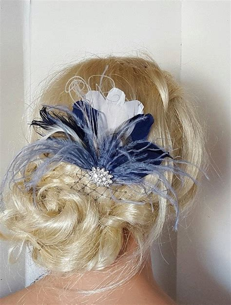 wedding hair accessories blue navy blue hair fascinator feather accessories great