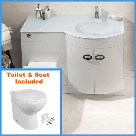 Bathroom Sink And Toilet Vanity Unit D Shape Bathroom Vanity Unit Basin Sink Bathroom Wc Unit Btw Toilet White Glass Ebay