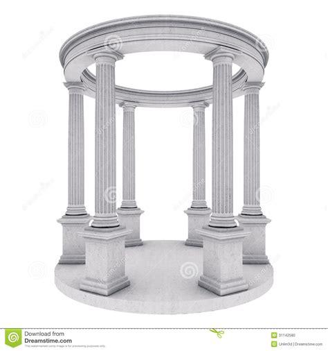 Grecian Columns Single Column Isolated On White Stock Photo Image