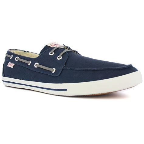 penguin mens canvas boat shoes navy ebay