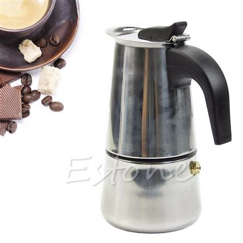 Percolator Espresso Coffee Maker Teko Kopi Moka Pot Stainless 6 Cup Stainless Steel 2 Cup Top Coffee Maker Percolator Stove Latte Moka Espresso Pot Forsale