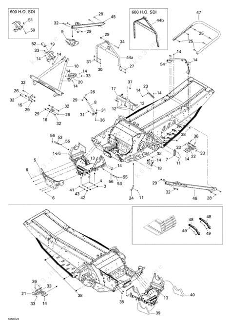 ski doo snowmobile parts diagram ski doo 2007 mx z xrs 600 ho sdi frame and components