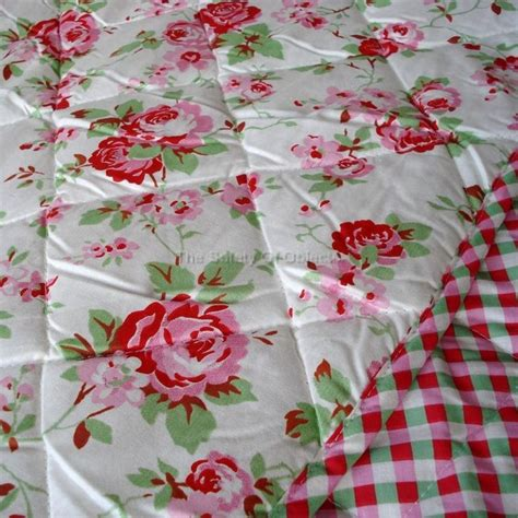details about ikea rosali n quilted bedspread gingham padded throw shabby chic floral blanket