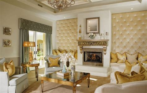 gold walls living room luxury living room gold accents and upholstered tufted walls home decorating trends homedit