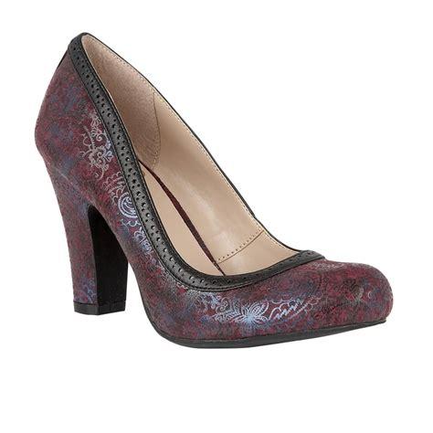 lotus shoes lotus hallmark elexis burgundy print court shoes shoes