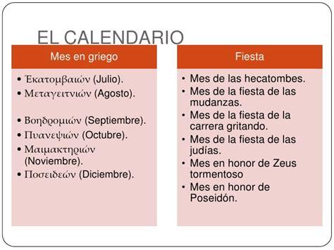 Calendario Griego El Calendario Y El Vestido Griegos