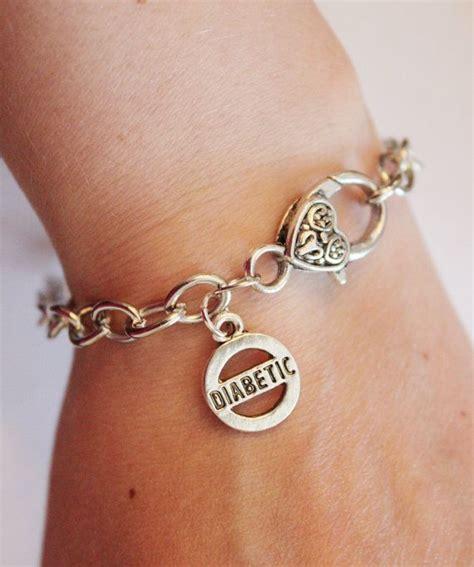 Diabetic charm bracelet, silver medical alert bracelet for diabetes,