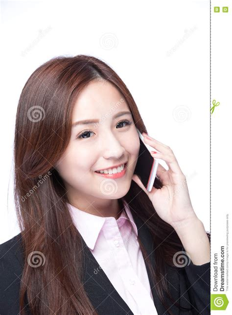 Makeup Modelled After A Cell Phone by Businesswoman Talking On The Phone Stock Photo Image