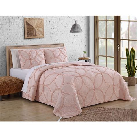 addie ruffle blush queen quilt set  piece