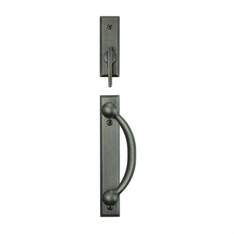 Andersen Patio Door Lock Andersen Yuma 2 Panel Gliding Patio Door Hardware Set In Distressed Nickel 2565559 The Home Depot