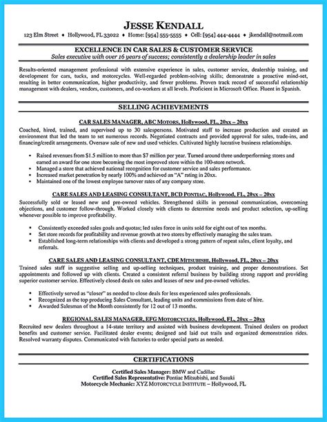 car salesman resume sles captivating car salesman resume ideas for flawless resume