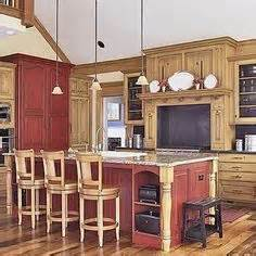 red painted kitchen cabinets design