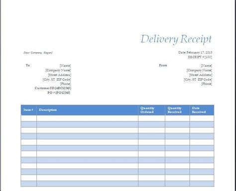 delivery receipt template free layout format
