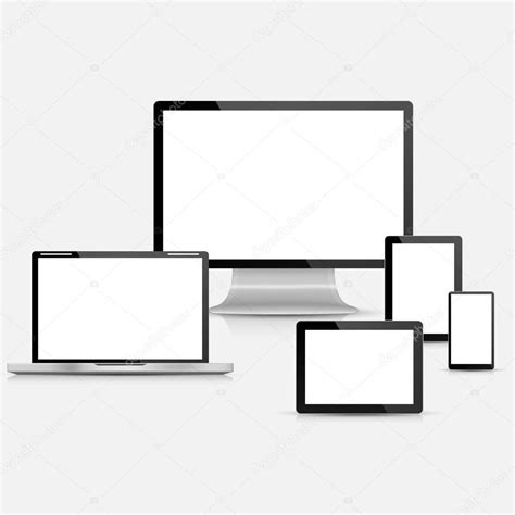 computer screen template set of realistic vector laptop tablet computer monitor