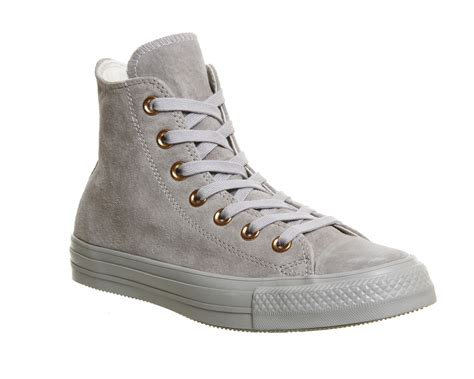 Converse Leather Grey womens converse all hi leather ash grey gold