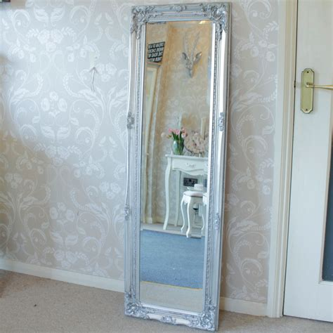 silver mirrors for bedroom tall slim silver wall mirror shabby vintage chic french