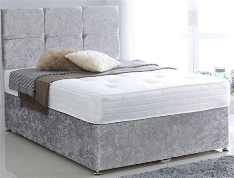 King Bed Base Only Premium Crushed Velvet Silver 6ft King Size Divan Bed Base Only