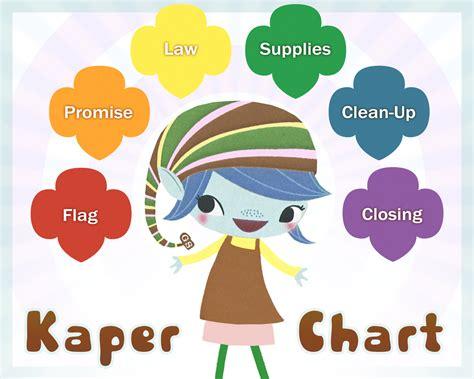 printable brownie elf kaper chart for brownie scout meetings when girls arrive