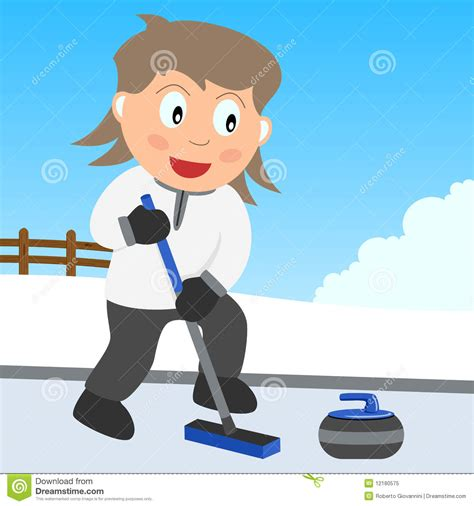 curling game sport royalty free cartoon cartoondealer curling girl in the park royalty free stock photo image