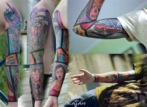 comic book sleeve tattoo designs real 60s comicbook sleeve best ideas gallery