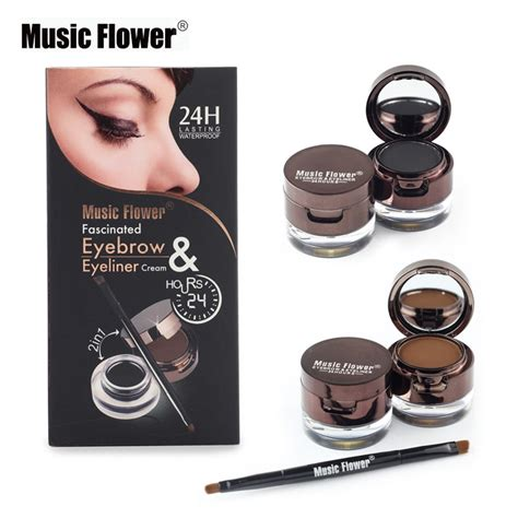 Flower Eyeliner Powder Brown flower brand makeup set 4 in 1 brown black gel