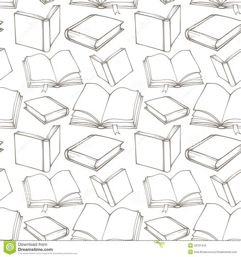 seamless pattern template seamless pattern with outline decorative books stock