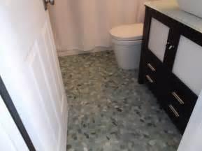 Sliced Sea Green Pebble Tile Bathroom Flooring   Pebble Tile Shop