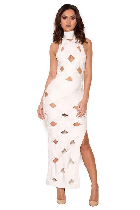 Cage Dress clothing bandage dresses nai white bandage cage maxi