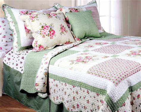 pink rose full queen quilt set green gingham shabby roses chic comforter ebay