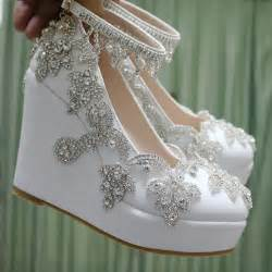 Wedding Shoes For Wedges by Fashion Rhinestone Wedges Pumps Heels Wedding Shoes For