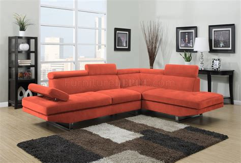 orange sectional 4017 sectional sofa in orange fabric