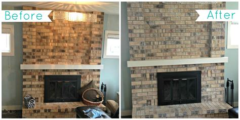Whitewash Brick Fireplace Before And After   FIREPLACE