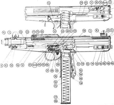 thompson cross section thompson smg diagram google search weapons pinterest