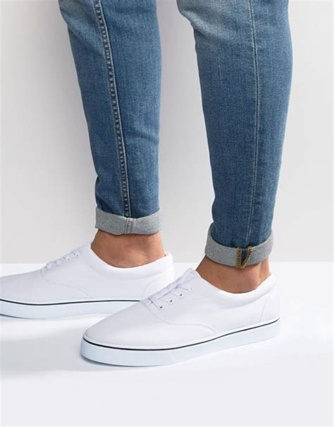 Asos Lace Up Plimsolls In White by Asos Asos Lace Up Plimsolls In White