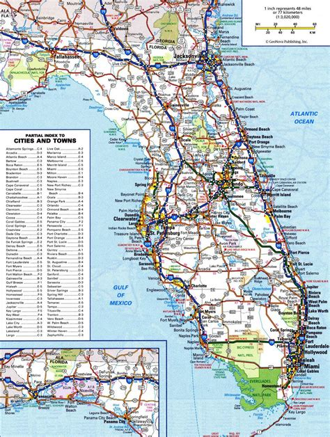 florida usa map cities large detailed roads and highways map of florida state