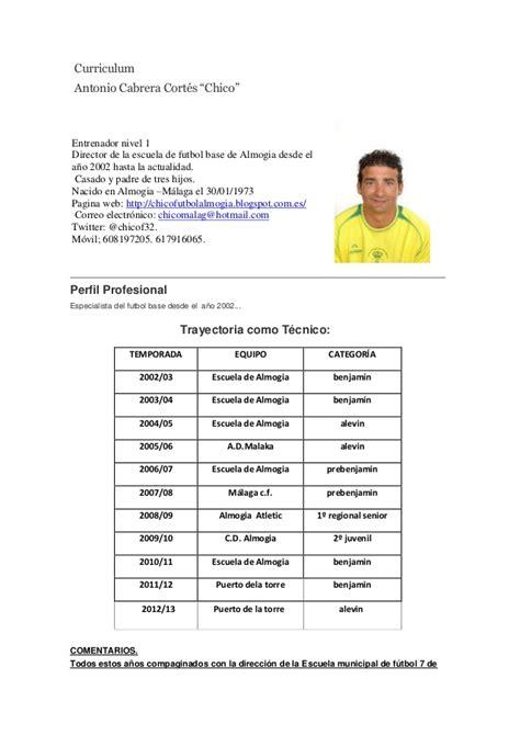 Modelo Curriculum Vitae Jugador Futbol Curriculum Chico