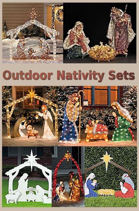 outside lighted nativity best 25 nativity sets ideas on