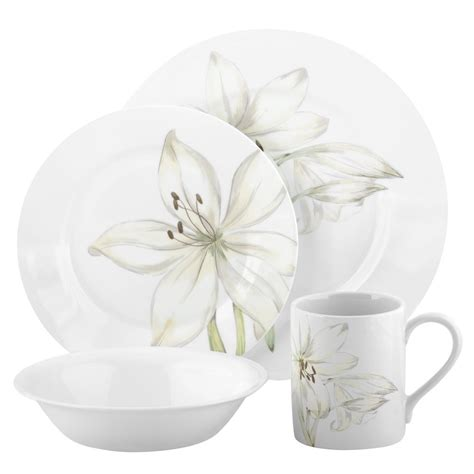 Flower Set corelle impressions white flower 16 pc pcs dinnerware set bowls orchid ebay