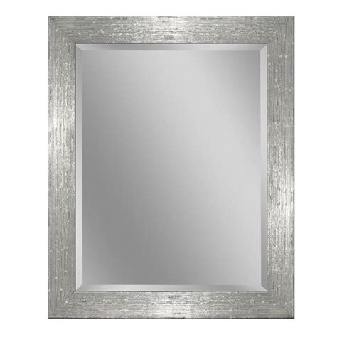 White Framed Mirror For Bathroom Shop Allen Roth 26 In X 32 In Chrome And White Rectangular Framed Bathroom Mirror At Lowes