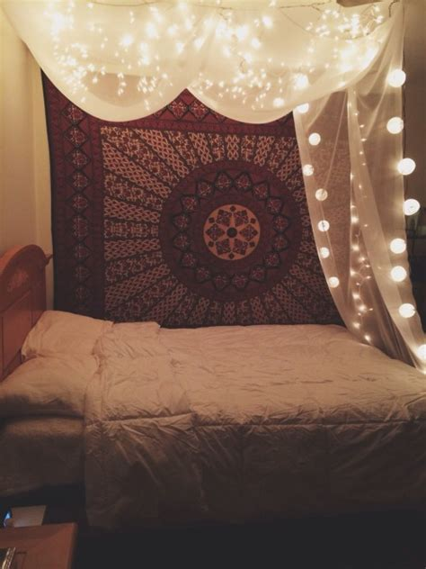 Boho Bedroom Tapestry Me Pretty Lights Mine Cool Room Boho