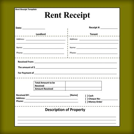 Landlord Rent Receipt Template rental receipt templates free printable receipts for