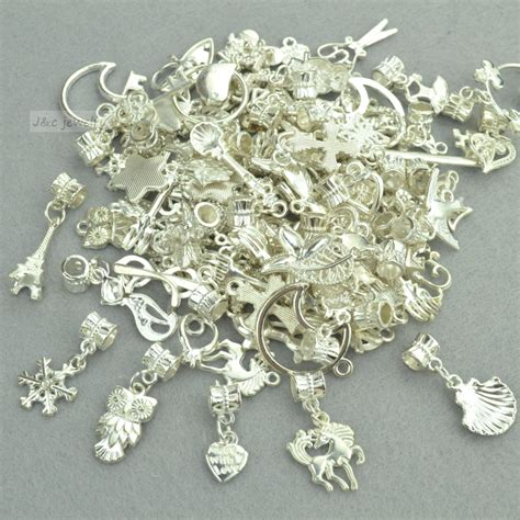 metal charms for jewelry new 50pcs mixed wholesale metal charms bright silver big