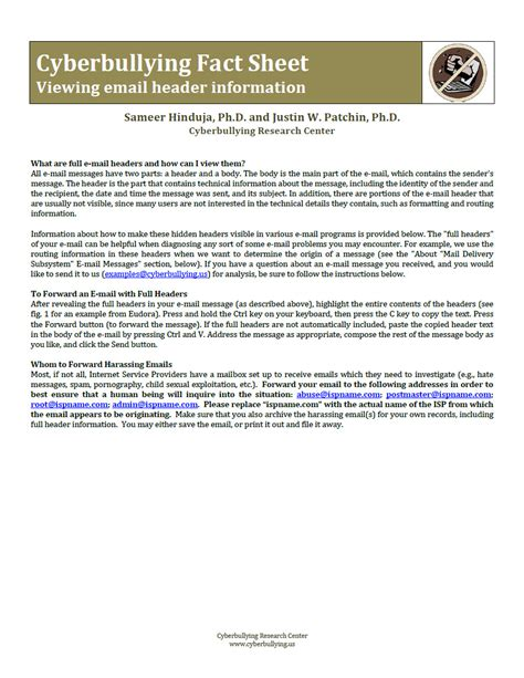 reference books about bullying cyberbullying fact sheet viewing email header information