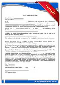 free printable sworn statement of loss general form generic