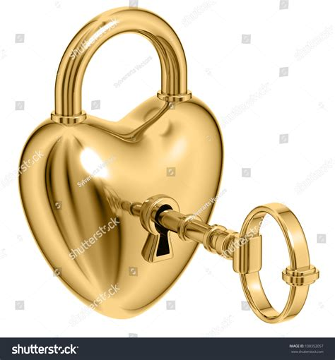 golden lock stock image image 12671151 lock formed as heart with a golden key in a keyhole