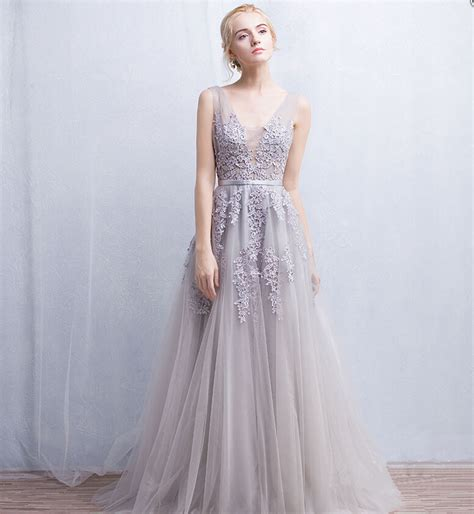 Enfocus Blue Flowers Vneck Dress Original grey floral lace appliqu 233 s floor length tulle bridal gown featuring plunge v bodice on luulla