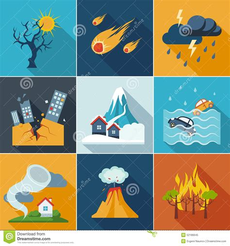 dibujos de amenazas naturales natural disaster icons stock vector image 52186645